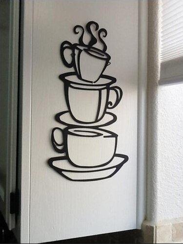 Skyllc® Kaffeetasse Doppelseitig entfernbare Wand-Aufkleber-Abziehbilder Decor PVC