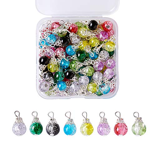 Kissitty 80-Piece Transparent Crackle Glass Drop Beads 8 Colors Handmade Dangle Glass Charms with Bead Cap for DIY Jewelry Making
