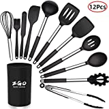 ZGO Silicone Kitchen Cooking Utensils Set, 12 Pcs Non-stick Heat Resistant Silicone Cookware with...