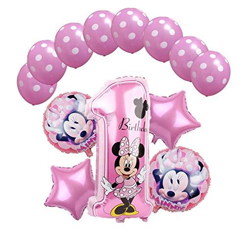 MAZ Globo 1Set Mickey Minnie Mouse Star Helium Balloons Fiesta de Cumpleaños Ducha Ducha 1Er Número de Cumpleaños Juguetes de Globo,Plata