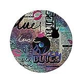 Tapis de souris rond en caoutchouc antidérapant décor de vieux journaux genre de musique blues Old Record Guitares électriques Kiss Inscriptions Grunge décoratif multicolore 7.9'x7.9'x3MM