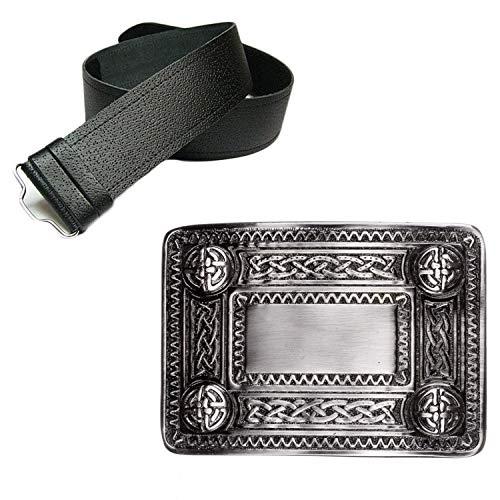 The Scotland Kilt Company Mens Leather Grained Kilt Belt & Antique Celtic Knot Buckle