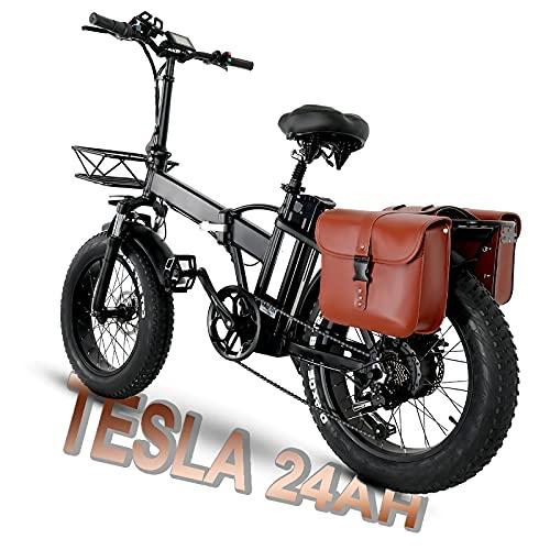 Bici Elettrica Pieghevole 20 Pollici, Upgrade GW20 Fat Bike Elettrica, Bici Elettriche Con Batteria al Litio Tesla 24AH E Motore da 750 W, Datteria 48V Con Grande Capacità