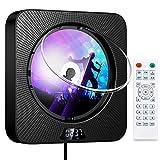 Reproductor de CD con Bluetooth Reproductor de CD Portátil para Montaje en la Pared Altavoces de Alta Fidelidad Incorporados con Pantalla LCD Audio Negro