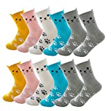 UOWAN 6 Pairs Funny Cat Socks, Women Cotton Casual Funky Novelty Cute Animal Paw Crew Socks Comfortable Colorful Creative Animal Pattern Socks Lover Gifts Socks for Ladies Girls