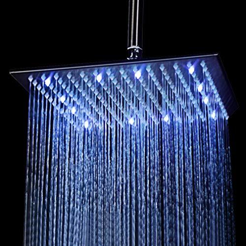 KAIBOR 40 * 40cm LED Regendusche Einbau-Duschkopf Deckenbrause Quadrat Überkopfbrause Farbewelchseln nach Temperatur