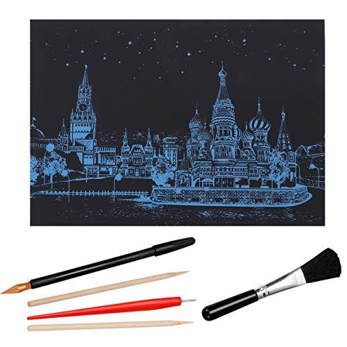 EXCEART 5Pcs Buntes Städtisches Nocturne Kratzbild-Nachtansicht Kreatives Geschenk für Erwachsene Und Kinder