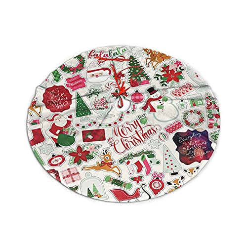 Albero di Natale Gonna Elementi (40) Ornamenti in Poliestere con Pizzi, Festa di Capodanno, Decorazioni per la casa, Utilizzato per alberi di qualsiasi dimensione 91 cm