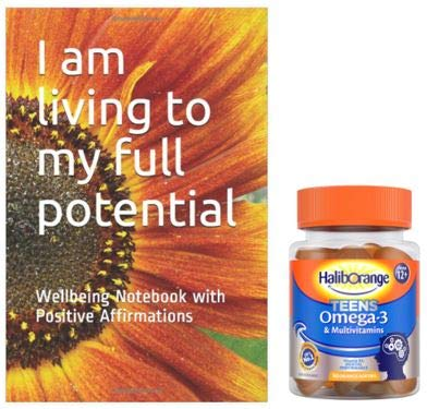 Haliborange Teens Multivitamins Orange Omega-3 Softies Bundle and Positive Affirmation Note Book…