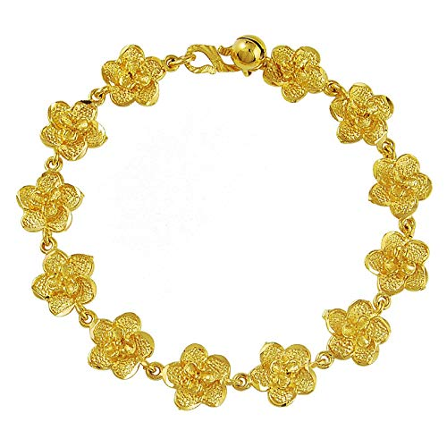 Jewellery Bracelets Bangle For Men Gold Filled Bracelet Fashion Beautiful Full Flowers Link Bracelet For Women Female Jewelry Gift