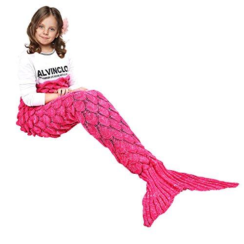 eCrazyBaby Hecho a Mano de Punto Manta de Cola de Sirena, Todas Las Estaciones cálido sofá Cama Sala de Estar Manta para niños, Patrón de Fish-Escalas, 140 x 70 cm, Rosado