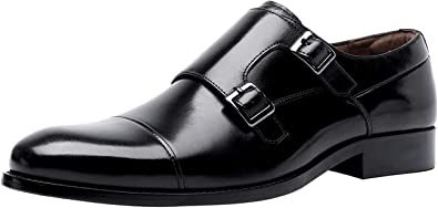 Men Leather Shoes Classical Double Monk Strap Cap Toe Slip On Formal Loafers Oxford Shoe for Man Black Brown