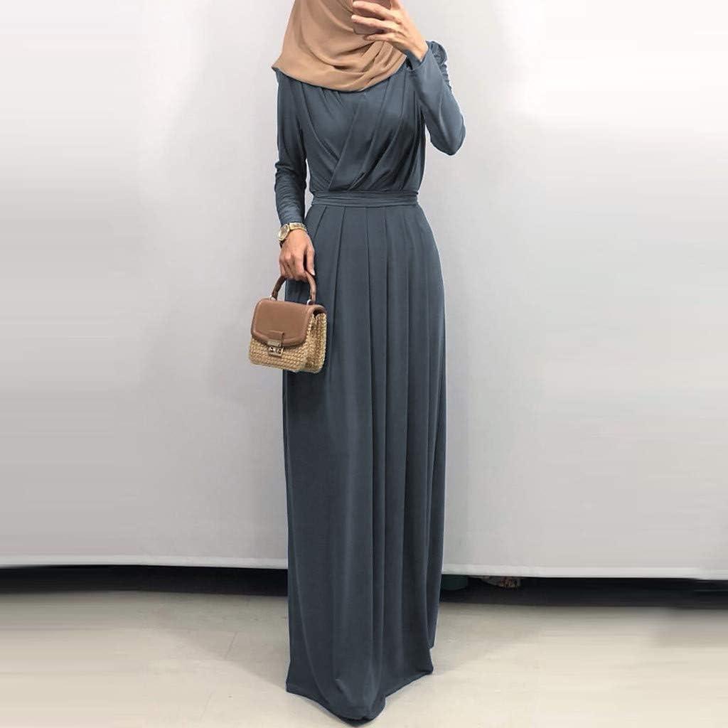 WUDUBE Mode Frauen Moslemische Robe, Indische Plissiertes Kragen Indische Frauen Muslimisches Kleid Elegantes Kleid Lose Gray
