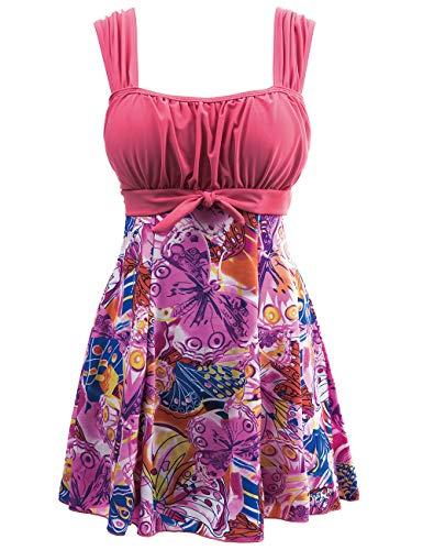 Wantdo Women's Swimwear Swimsuit Plus Size Swimming Swimdress PinkFlower 8/10