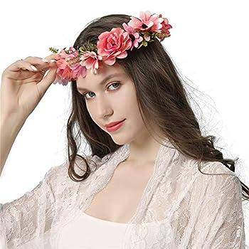 Adjustable Flower Crown Headband - Artflcial Flower Handmade FlowerHeadband Garland For Women Headpiece Wedding Festivals Party Photo Props and Daily Use  Pink flower headband