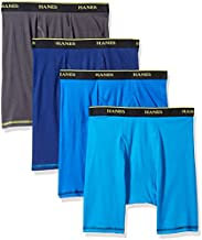 Hanes Men's 4-Pack Cool Comfort Breathable Mesh Long Leg Boxer Brief, Assorted, X-Large