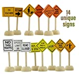 Toy Wooden Road Construction Traffic Sign Set; Street Signs Small Toy Cars and Other Diecast Vehicles & Wood Cars & Toys
