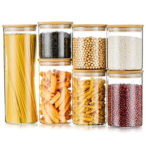 Juego De 7 Frascos De Vidrio con Tapa, Recipientes Herméticos para Almacenamiento De Alimentos para Almacenamiento En La Cocina De Granos De Café, Pasta, Harina, Cereales