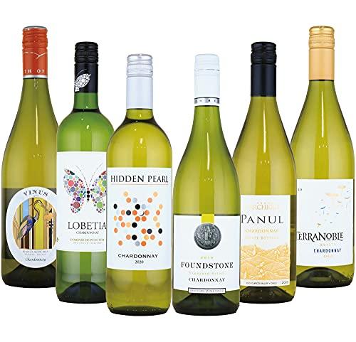 酒のダイナミック世界のシャルドネ辛口白ワイン飲み比べ6本セット(シャルドネ種100%)750mlx6本