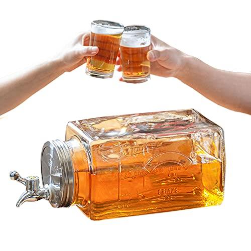 GUOGEGE 3L Dispensador de Bebidas de Cristal, Botella con Grifo y Cubierta de Acero Inoxidable, Jarra Agua Cristal para Agua Fría té Helado y Bebidas de Jugo