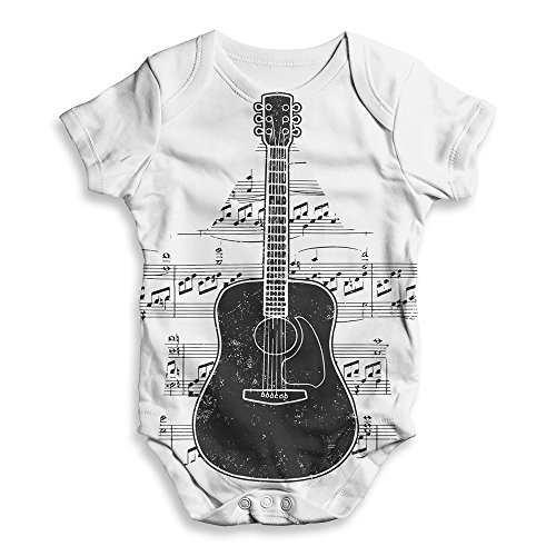 Twisted Envy Funny Baby Grow Onesie Guitar Music Notes Star White 12-18 Months