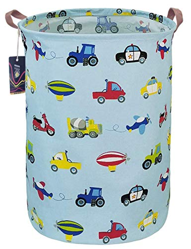 HKEC 19.7'' Waterproof Foldable Storage Bin, Dirty Clothes Laundry Basket, Canvas Organizer Basket for Laundry Hamper, Toy Bins, Gift Baskets, Bedroom, Clothes, Baby Hamper(Car)