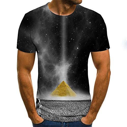 KIKIGO Cooles Herren T-Shirt Print Aufdruck Motiv,Creative 3D Digital Printed Short Sleeves, Men's Round Neck T-Shirt Fitness, Novel Short Sleeves-N_5XL