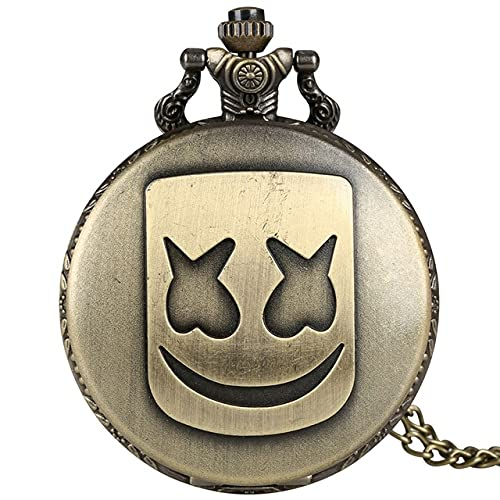 UIOXAIE Reloj de Bolsillo Payaso Droll Máscara Patrón Reloj de Bolsillo Collar Cadena Colgante Bronce Boca Grande Reloj de Bolsillo de Cuarzo Retro Relojes Fob para Hombres Mujeres, Bronce