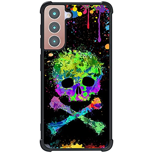 Tnarru Compatible with Samsung Galaxy S21 Case Graffiti Skull Pattern Hard PC Back and Soft TPU Sides Scratchproof Shockproof Protective Case for Samsung Galaxy S21 5G -Black
