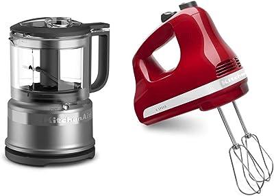 KitchenAid KFC3516CU 3.5 Cup Food Chopper, Contour Silver & 5-Speed Ultra Power Hand Mixer, Empire Red