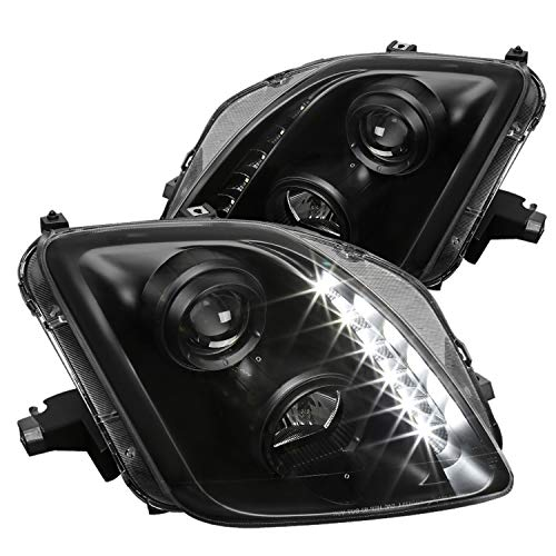 Spec-D Tuning Black Clear SMD Led Projector Headlights for 1997-2001 Honda Prelude Head Light Assembly Left + Right Pair