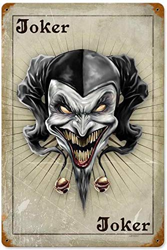 Tin Sign Vintage Chic Art Decoration Poster Evil Joker' Card Poker Player for Store Bar Home Cafe Farm Garage or Club 12' X 8'