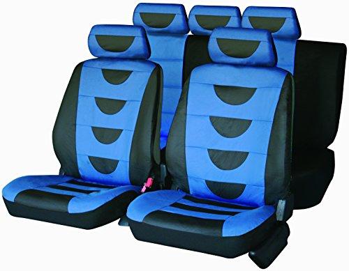 Carfactory - Juego de fundas de asiento para coche, Universales, modelo POLIPIEL, color azul y gris, 9 piezas.