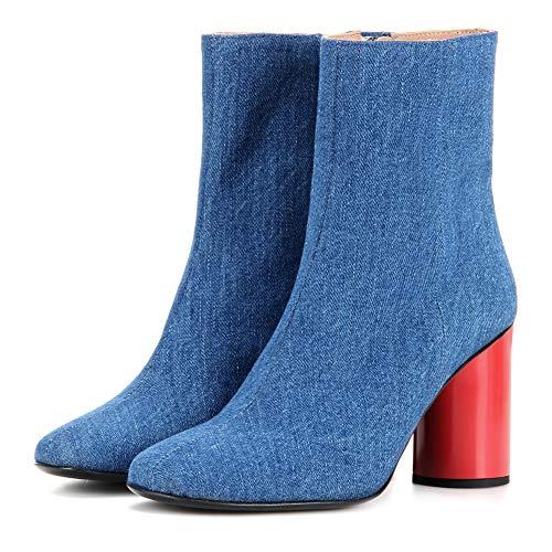 YMN damesspijkerlaarzen, dikke enkellaarsjes comfortabele dames 10 cm hak, geschenken voor vriendinnen en moeder(blauw)