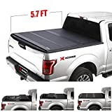 Xcover Hard Folding Truck Bed Cover, Low Profile Tonneau Cover, Compatible with 2019 2020 2021 Chevrolet Silverado/GMC Sierra 1500 5.7 Ft Bed