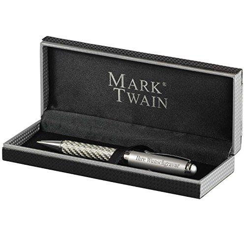 Kugelschreiber Mark Twain Columbia im Carbon-Design mit Gravur, Namen