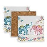 Juego de 2 posavasos cuadrados Dos elefantes Alfombrilla de cocina Art Cork Decorativo