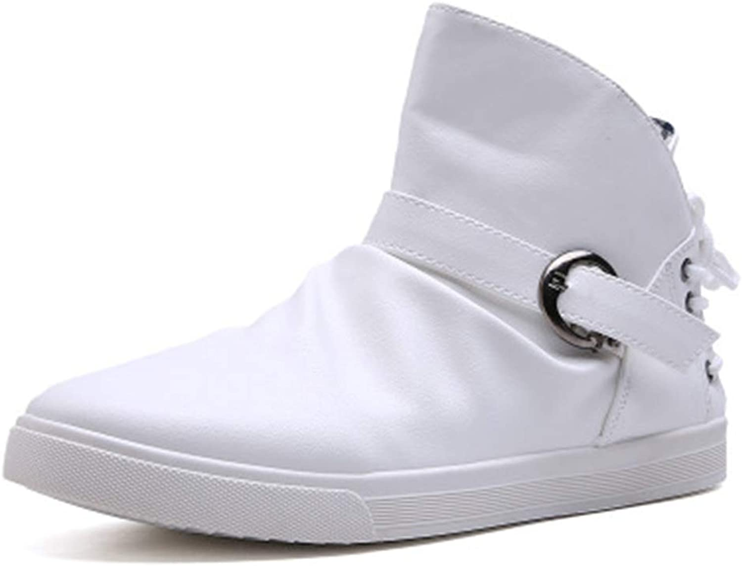MIKA HOM Womens High Top Canvas shoes Belt Buckle Casual shoes Fashion Sneakers