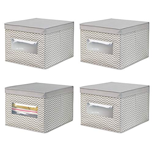 scatole per armadio in tessuto mDesign Set da 4 scatole per armadio in tessuto – Scatola contenitore portabiancheria per vestiti