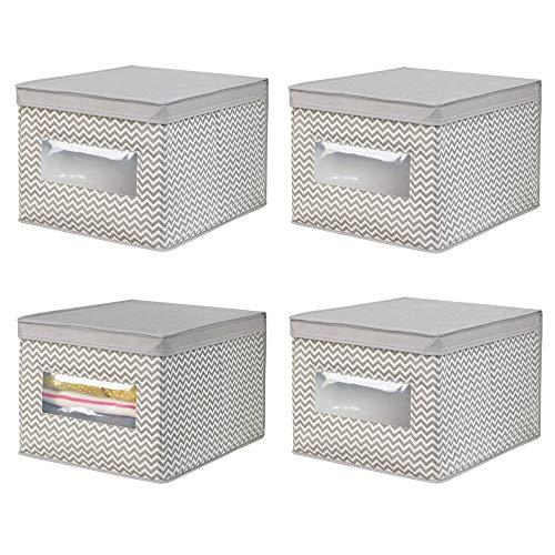 mDesign Juego de 4 cajas organizadoras de tela de polipropileno – Organizadores para armarios con tapa y ventana – Caja...