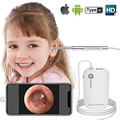 Otoscope iPhone, Scopearound New Upgrade 4.3mm Ultra-Slim HD Ear Scope Camera Smart Otoscope, Earwax Cleaning Tool with 6 LED Lights for iPhone and Android from ScopeAround