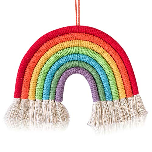 SOOTOP Exquisite Rainbow Decoration, Gift Macrame Hand Woven Wall Tapestry Hanging Art Wall Decor -Room Decoration Woven Art for Living Room Bedroom Baby Nursery (Colorful)