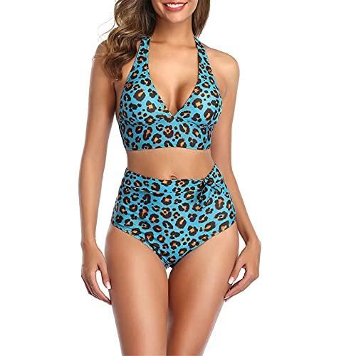 Mujer Traje de Baño de Moda 2 Piezas, Leopardo de las mujeres estampado Bikini Set Push Up 2 Piezas Swimsuit Halter Top Top High Cintura Baja Baja Bañador Traje de baño Traje de baño Elegante Moda Bat