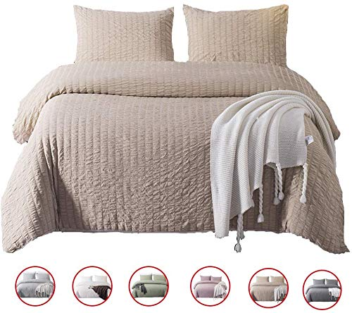 DuShow Seersucker Taupe Duvet Cover Twin Kids Ultra Soft Bedding Cover Set with Zipper Closure