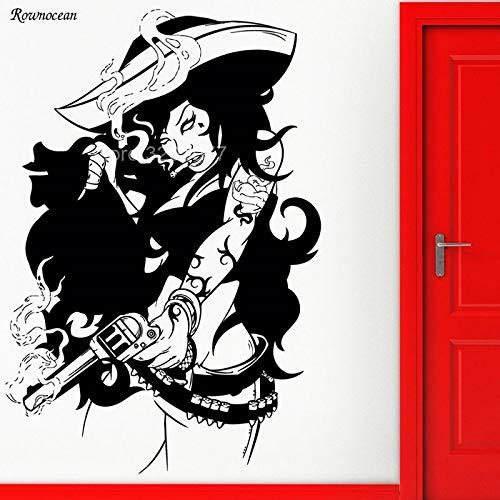 guijiumai Pirate Bad Girl Gun Gangster Cool Wall Sticker Vinilo Decoración del...