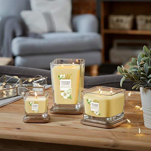 Yankee Candle candela profumata piccola a 1 stoppino | Gelsomino e pagliaio | Durata della fragranza: fino a 28 ore | Elevation Collection con coperchio utilizzabile come base