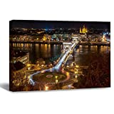 VinMea Wall Art Canvas Széchenyi Chain Bridge In Budapest Hungary On The River Danube Strecthed Poster Picture Ready to Hang Modern Home Art Decor, 16 x 20 Inch