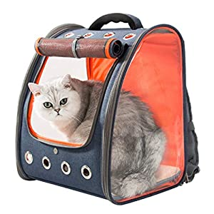HIPIPET Cat Backpack for Puppies Small Dogs and Pets Foldable Ventilated and Breathable for Travel Hiking Outdoor Use Airline Approved (Blue+Orange)