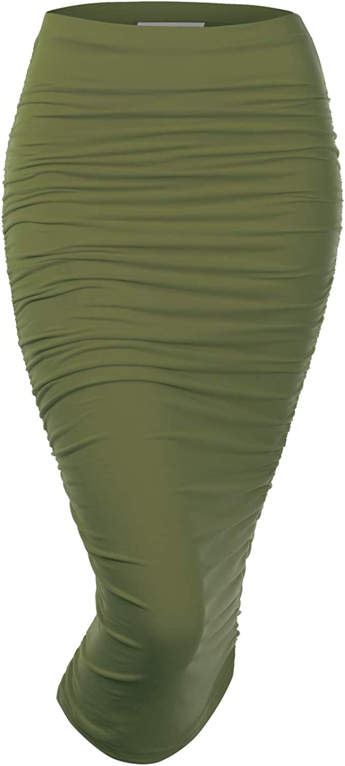 Doublju Womens Slim Fit Ruched Long Pencil Skirt with Plus Size
