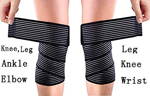 Tima Extra Long Elastic Knee Wrap Compression Bandage Brace Support for Legs, Plantar Fasciitis, Stabilising Ligaments, Joint Pain, Squat, Basketball, Running, Tennis, Soccer, Football, Black (Pack of 2 Pcs)